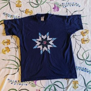 Cute vintage navy quilted detail tee-shirt